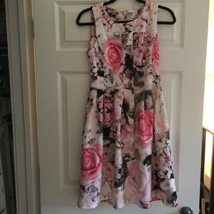 Calvin Klein floral fit and flare pocket dress